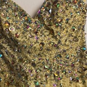 Prom Formal Gown Yellow Size 4